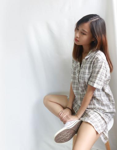[KR]One Piece Dress with Checked Pattern
